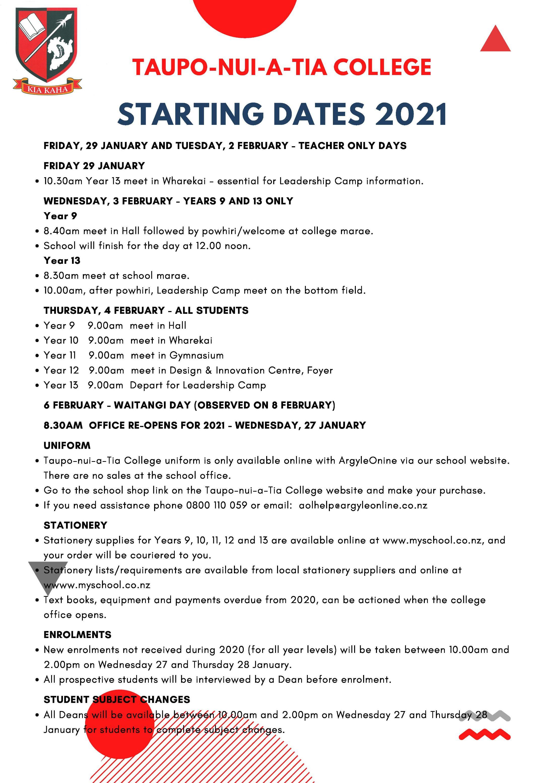 Starting Dates 2021