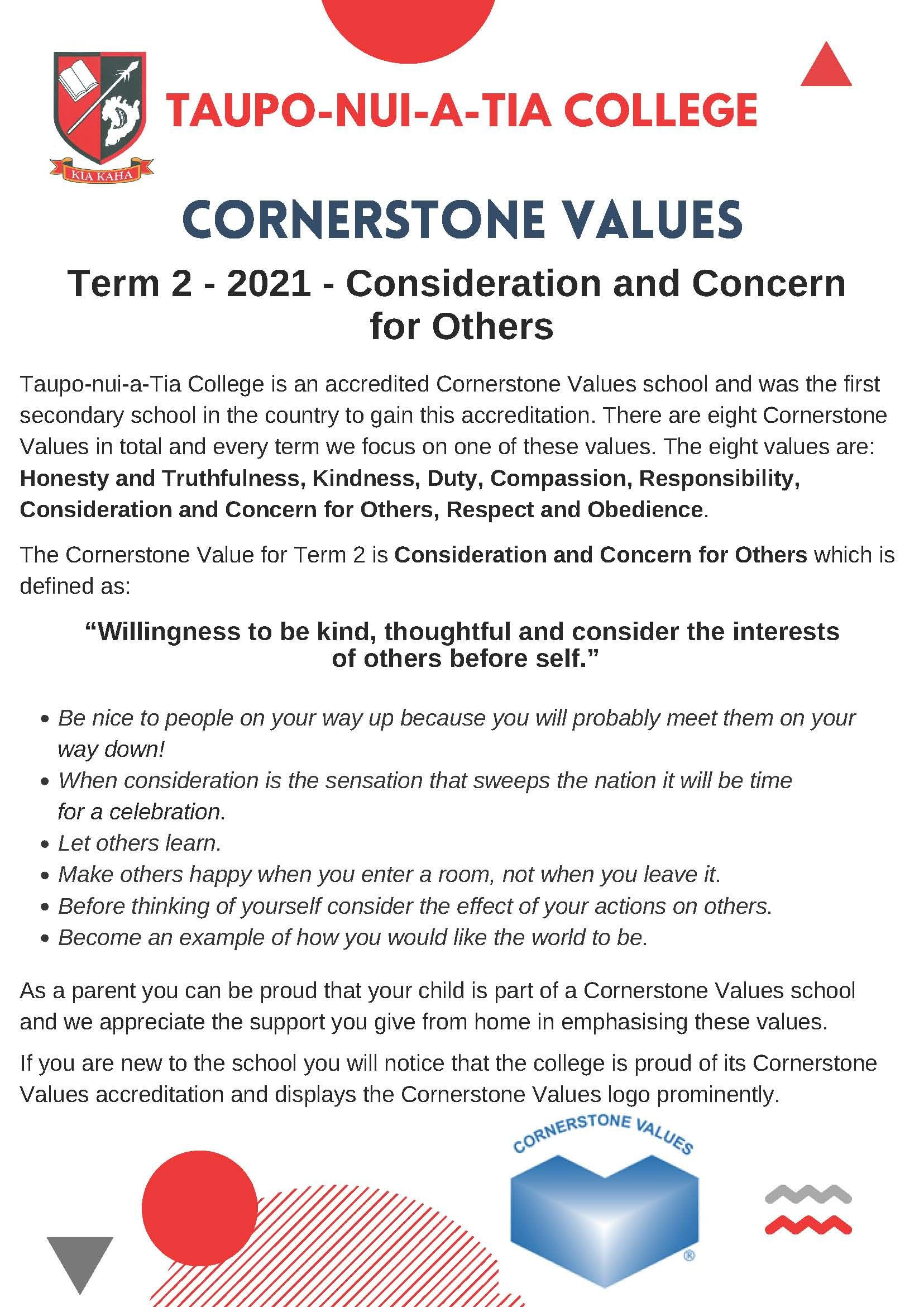Cornerstone Value For Term 2 2021   Consideration And Concern For Others